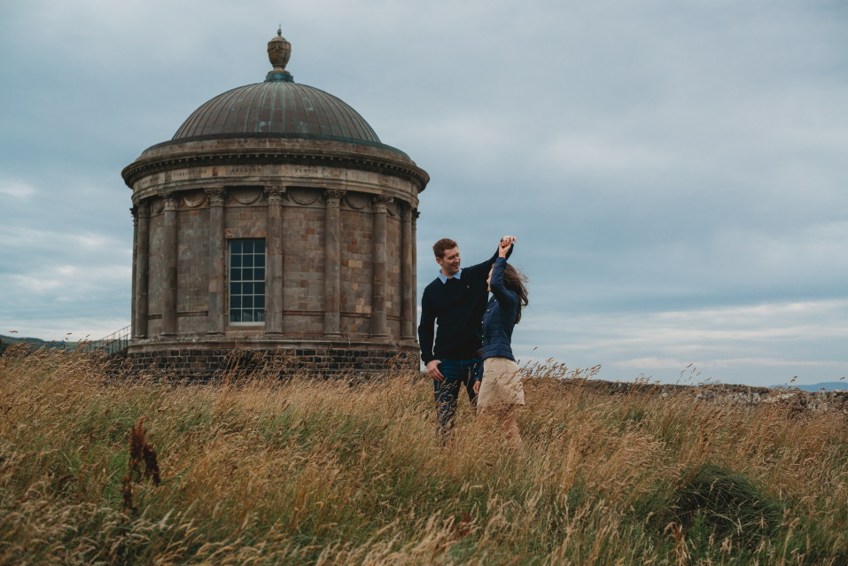 engagement photography, mussenden temple, Castlerock - love and light photography ni -
