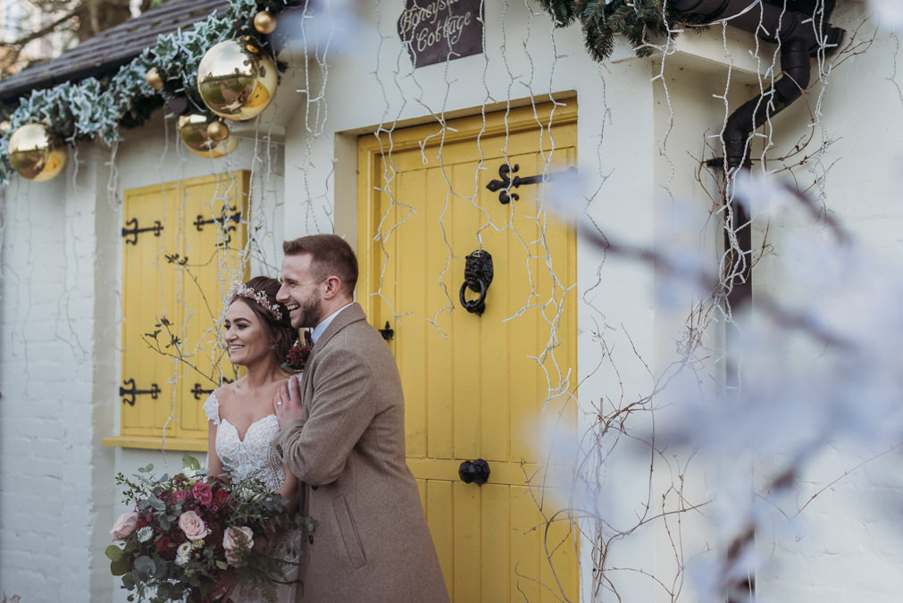 winter wedding, wedding photo, couple, culloden estate and spa - love and light photography ni -